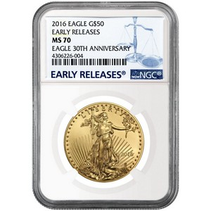 2016 Gold American Eagle 1oz ($50) MS70 ER NGC Blue Label