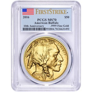 2016 Gold Buffalo 1oz ($50) MS70 FS PCGS Flag Label