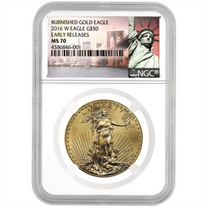 2016 W Gold American Eagle 1oz Burnished MS70 ER 30th Anniversary NGC New York Label