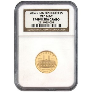 2006 S San Francisco Old Mint Centennial $5 Gold PF69 UC NGC Brown Label