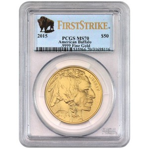 2015 Gold Buffalo 1oz MS70 FS PCGS Buffalo Label
