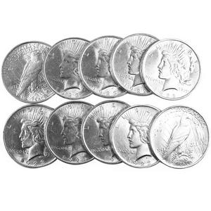 Silver Peace Dollars 10pc Dates Our Choice AU-BU