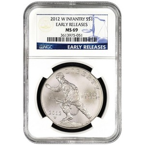 2012 W Infantry Soldier Silver Dollar MS69 ER NGC