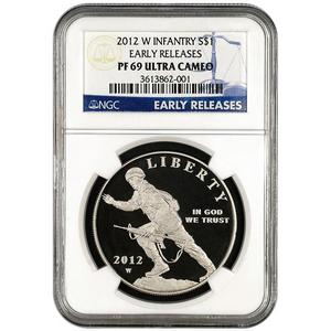 2012 W Infantry Soldier Silver Dollar PF69 UC ER NGC Blue Label