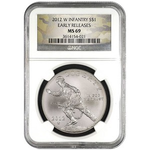 2012 W Infantry Soldier Silver Dollar MS69 ER NGC Camo Label