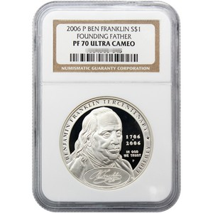 2006 P Benjamin Franklin Founding Father Silver Dollar PF70 UC NGC