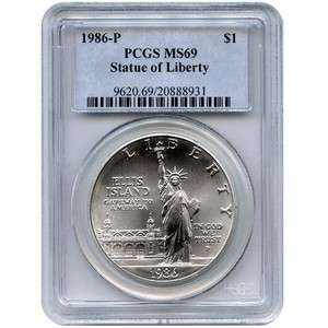 1986 P Statue of Liberty Silver Dollar MS69 PCGS
