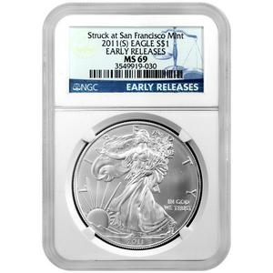 2011 S Silver American Eagle Struck at San Francisco Mint MS69 ER NGC