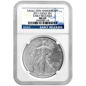 2011 25th Anniversary Silver American Eagle MS69 ER NGC