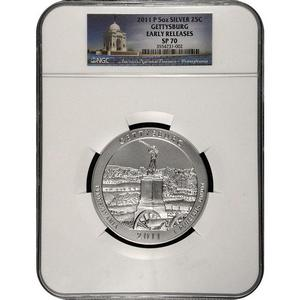 2011 P America The Beautiful Silver 5oz Gettysburg SP70 ER NGC