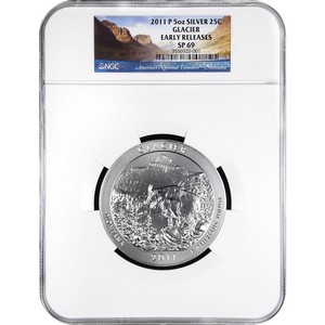 2011 P America The Beautiful Silver 5oz Glacier SP69 ER NGC