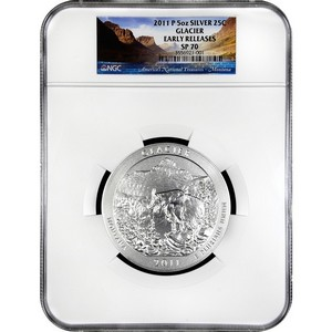 2011 P America The Beautiful Silver 5oz Glacier SP70 ER NGC