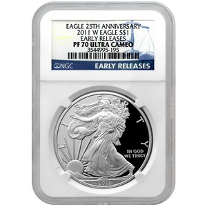 2011 W Silver American Eagle 25th Anniversary PF70 UC ER NGC Blue Label