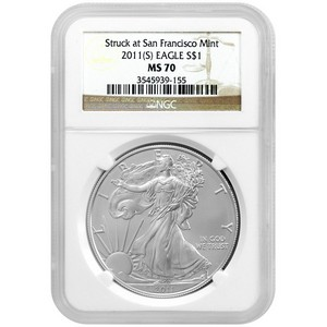 2011 S Silver American Eagle Struck at San Francisco Mint MS70 NGC Brown Label