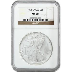 1991 Silver American Eagle MS70 NGC Brown Label