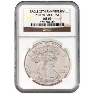 2011 W Silver American Eagle 25th Anniversary MS69 Burnished NGC