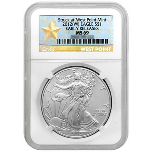 2012 W Silver American Eagle Struck at West Point Mint MS69 ER NGC Star Label