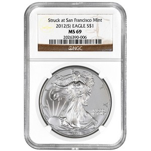 2012 S Silver American Eagle Struck at San Francisco Mint MS69 NGC Brown Label