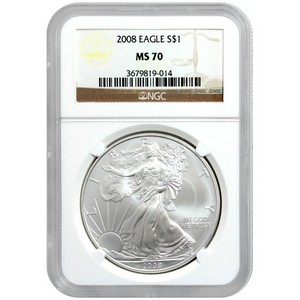 2008 Silver American Eagle MS70 NGC Brown Label