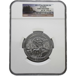 2011 P America The Beautiful Silver 5oz Olympic SP70 ER NGC