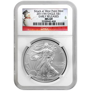 2011 W Silver American Eagle Struck at West Point Mint MS69 ER NGC Snowman Label