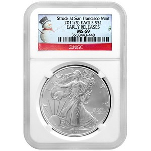 2011 S Silver American Eagle Struck at San Francisco Mint MS69 ER NGC Snowman Label