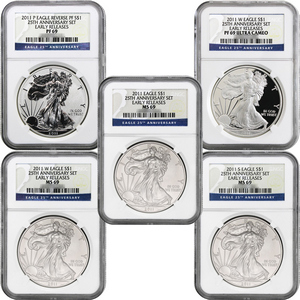 2011 25th Anniversary Silver American Eagle 5pc Set 69 ER NGC