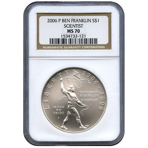 2006 P Benjamin Franklin Scientist Silver Dollar MS70 NGC Brown Label