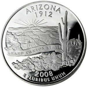2008 S Silver Arizona State Quarter PF