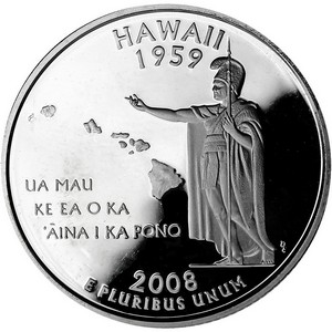 2008 S Silver Hawaii State Quarter PF