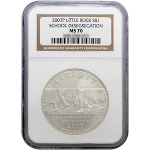 2007 P Little Rock Central High School Desegregation Silver Dollar MS70 NGC Brown Label