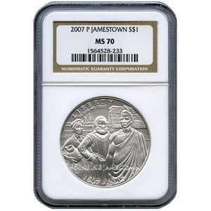 2007 P Jamestown 400th Anniversary Silver Dollar MS70 NGC Brown Label