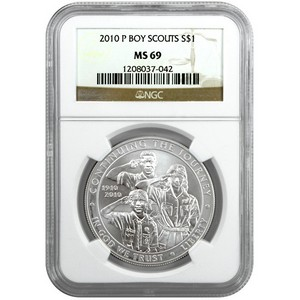 2010 P Boy Scouts of America Silver Dollar MS69 NGC