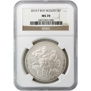 2010 P Boy Scouts of America Silver Dollar MS70 NGC