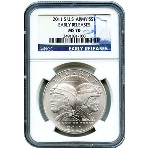 2011 S US Army Silver Dollar MS70 ER NGC Blue Label