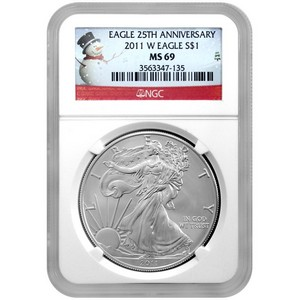 2011 W Silver American Eagle 25th Anniversary MS69 Burnished NGC Snowman Label