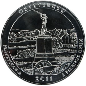 2011 America The Beautiful Silver 5oz Gettysburg UNC