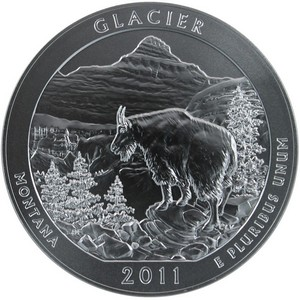 2011 P America the Beautiful Glacier Silver 5oz Vapor Blasted UNC