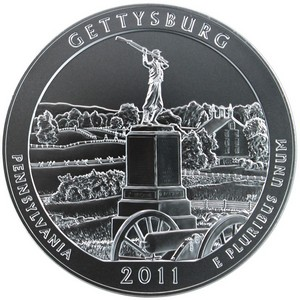 2011 P America the Beautiful Gettysburg Silver 5oz Vapor Blasted UNC