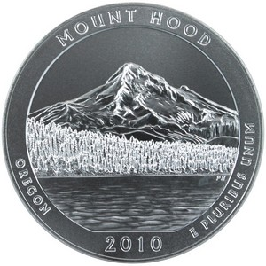 2010 P America the Beautiful Silver 5oz Mount Hood Vapor Blasted UNC