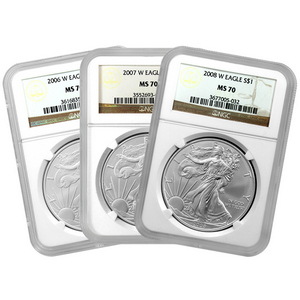 Silver American Eagles West Point Set MS70 NGC Brown Label