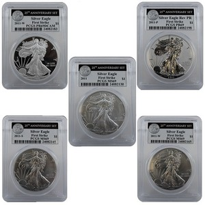 2011 25th Anniversary Silver American Eagle 5pc Set 69 FS PCGS