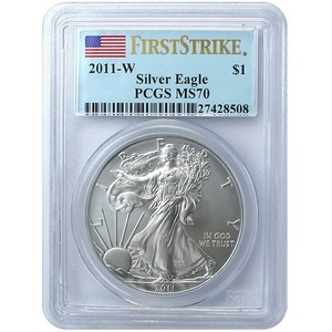 2011 W Silver American Eagle MS70 Burnished FS PCGS Flag Label