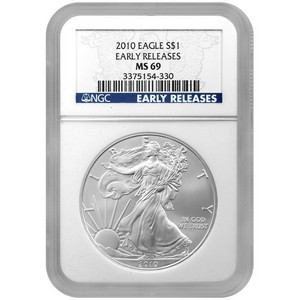 2010 Silver American Eagle MS69 ER NGC Blue Label