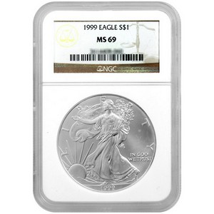 1999 Silver American Eagle MS69 NGC Brown Label