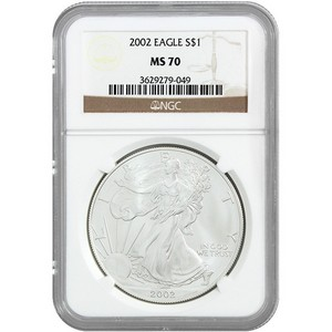 2002 Silver American Eagle MS70 NGC Brown Label