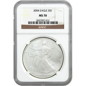 2004 Silver American Eagle MS70 NGC Brown Label