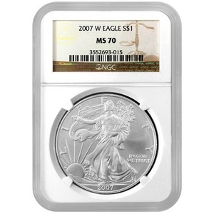 2007 W Silver American Eagle MS70 Burnished NGC Brown Label