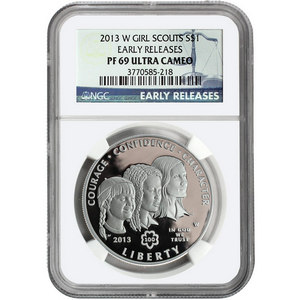 2013 W Girl Scouts Silver Dollar PF69 UC ER NGC Blue Label