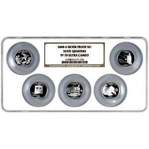 2008 S Silver 5pc Proof Set State Quarters PF70 UC NGC